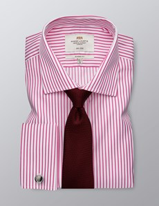 Men's Dress Pink & White Bi Colour Stripe Classic Fit Shirt -French Cuff - Non Iron