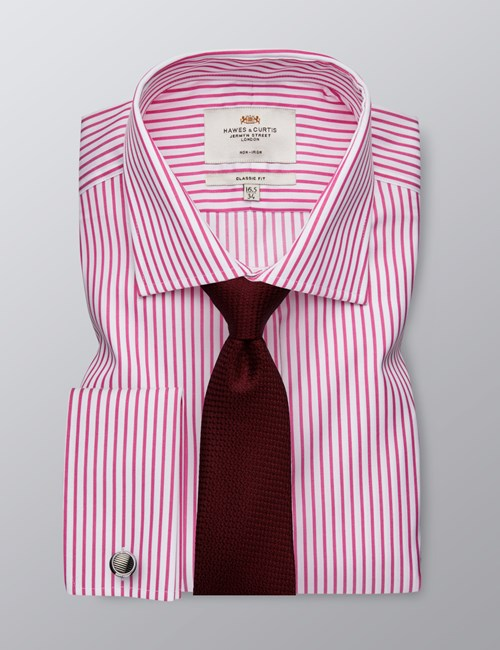Men's Business Pink & White Bi Colour Stripe Classic Fit Shirt - Double Cuff - Non Iron