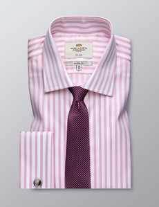 Men's Business Pink & White Bengal Stripe Classic Fit Shirt - Double Cuff - Non Iron