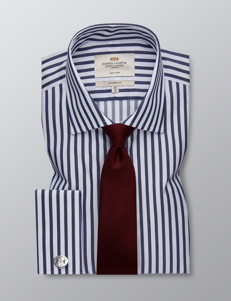 Men's Formal Navy & White Bold Stripe Classic Fit Shirt - Double Cuff - Non Iron