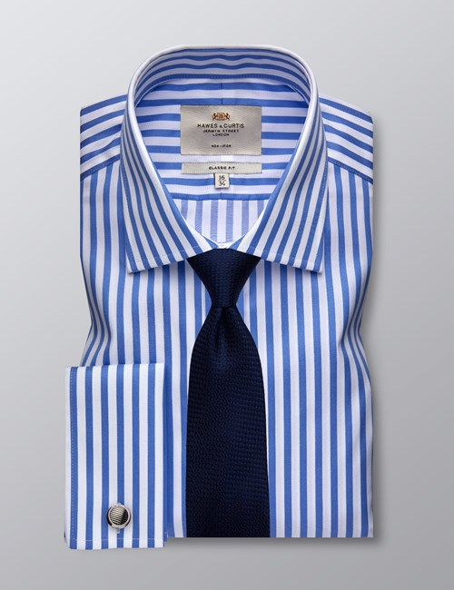 Men's Formal Blue & White Bengal Stripe Classic Fit Shirt - Double Cuff - Non Iron