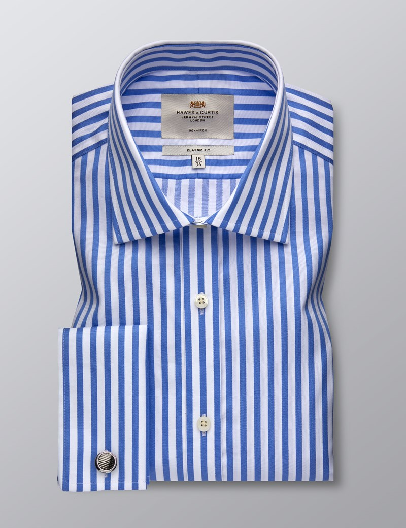 Men's Dress Blue & White Bengal Stripe Classic Fit Shirt - French Cuff - Non Iron