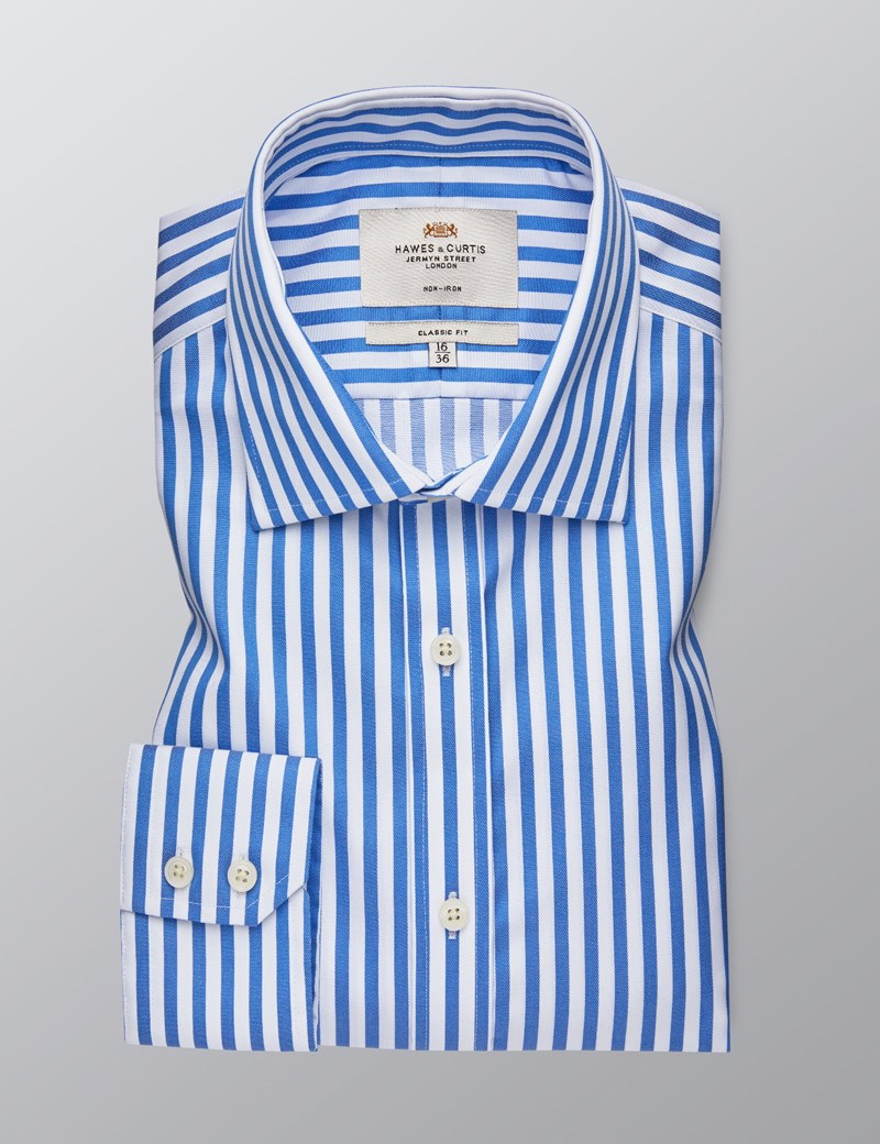 Men's Dress Blue & White Bold Stripe Classic Fit Shirt - Single Cuff - Non Iron