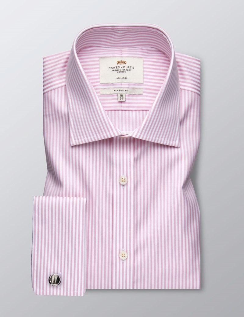 Men's Dress Pink & White Stripe Classic Fit Shirt - French Cuff - Non Iron
