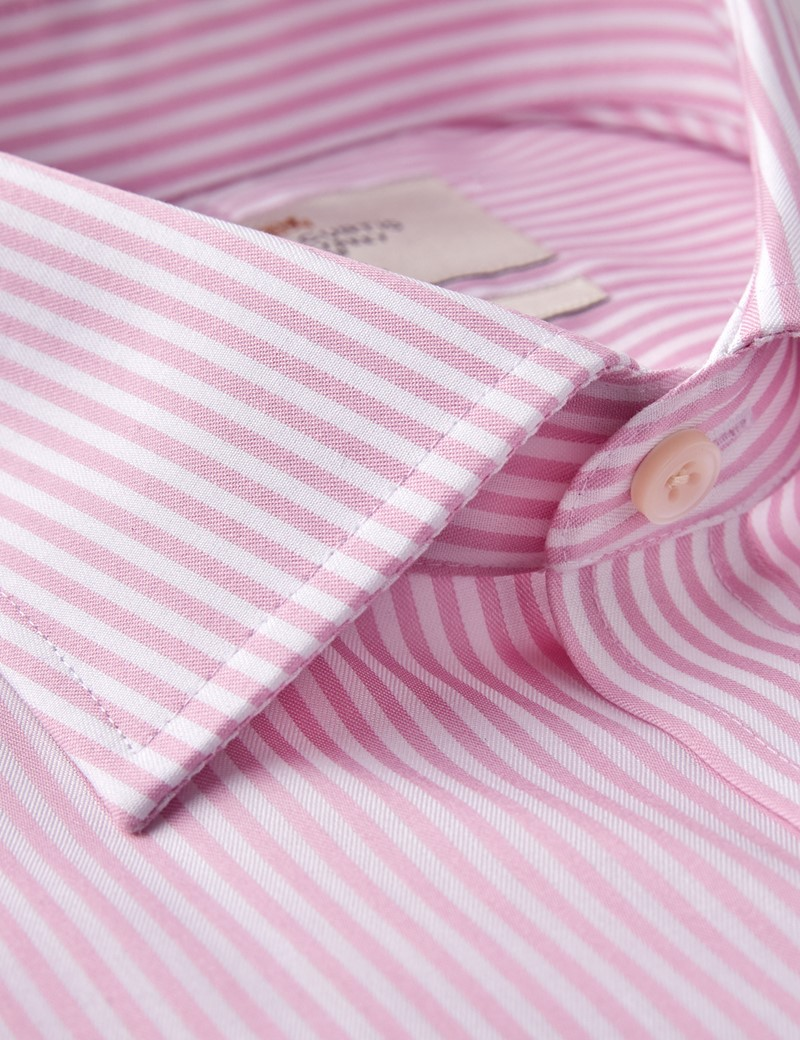 Men's Business Pink & White Stripe Classic Fit Shirt - Double Cuff - Non Iron