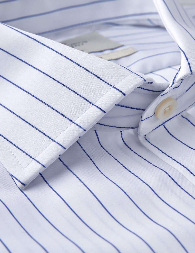 Men's Business White & Navy Stripe Classic Fit Shirt - Double Cuff - Non Iron
