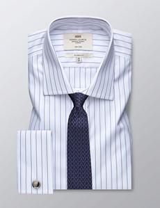 Bügelfreies Businesshemd – Classic Fit – Manschetten – weiß & navy Streifen