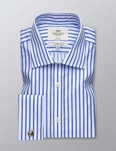 Bügelfreies Businesshemd – Classic Fit – Manschetten – weiß & himmelblau Streifen