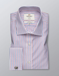 Men's Business Red & Navy Multi Stripe Classic Fit Shirt - Double Cuff - Non Iron