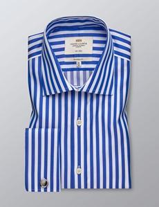 Men's Formal Royal Blue & White Bold Stripe Classic Fit Shirt - Double Cuff - Non Iron