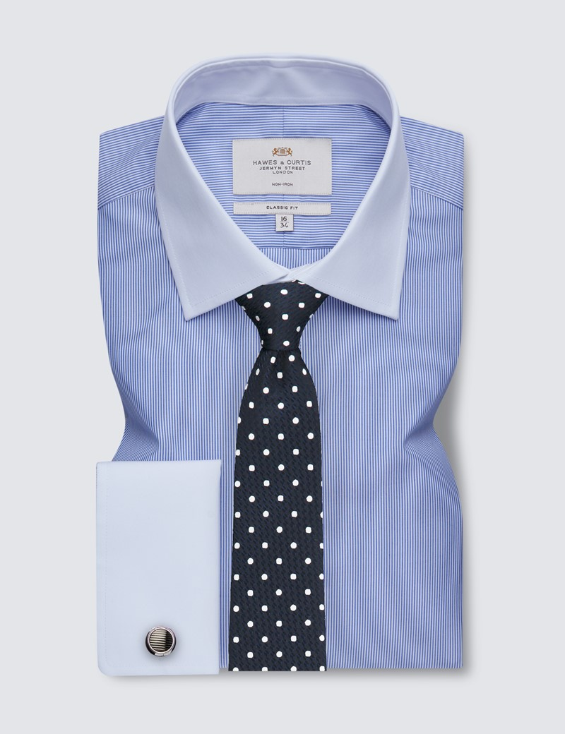 Non Iron Blue & White Fine Stripe Classic Fit Shirt with White Collar and Cuffs