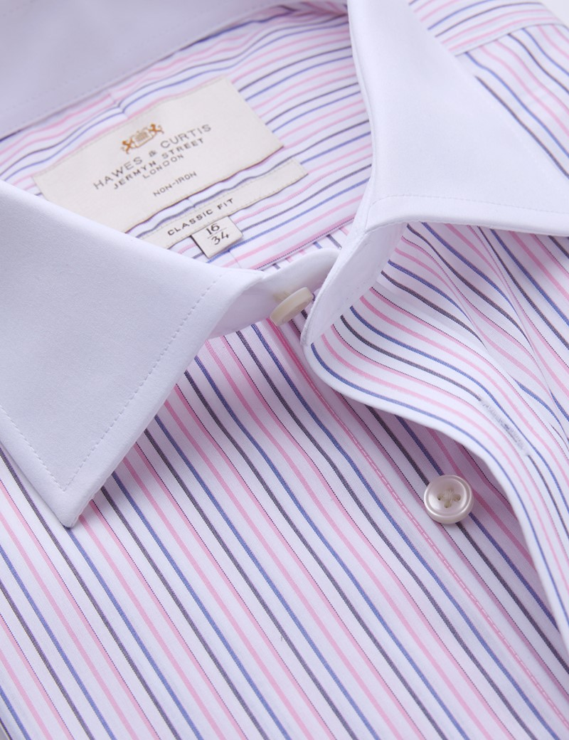 Non Iron Pink & Blue Multi Stripe Classic Fit Shirt with White Collar and Cuffs