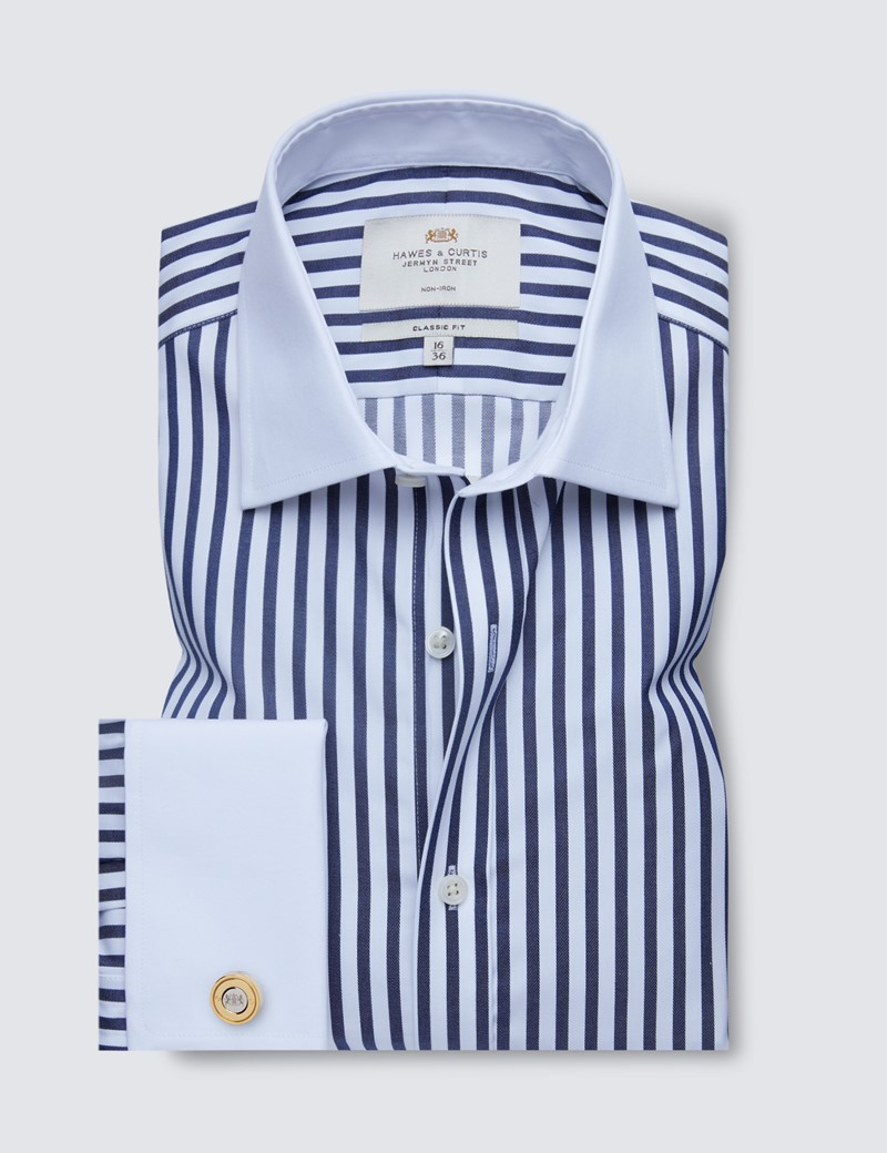 Non Iron Navy & White Bold Stripe Classic Fit Shirt with White Collar and Cuffs