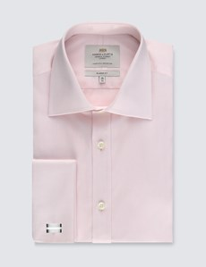 Men's Pink Textured Classic Fit Dress Shirt - French Cuff - Easy Iron