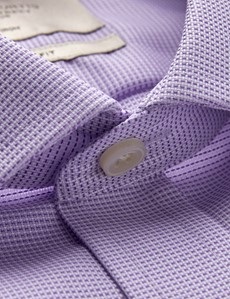 Men's Dress Lilac & White Dobby Classic Fit Shirt - French Cuff - Non Iron