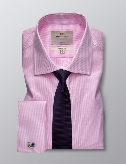 Men's Dress Pink & White Dobby Classic Fit Shirt - French Cuff - Non Iron