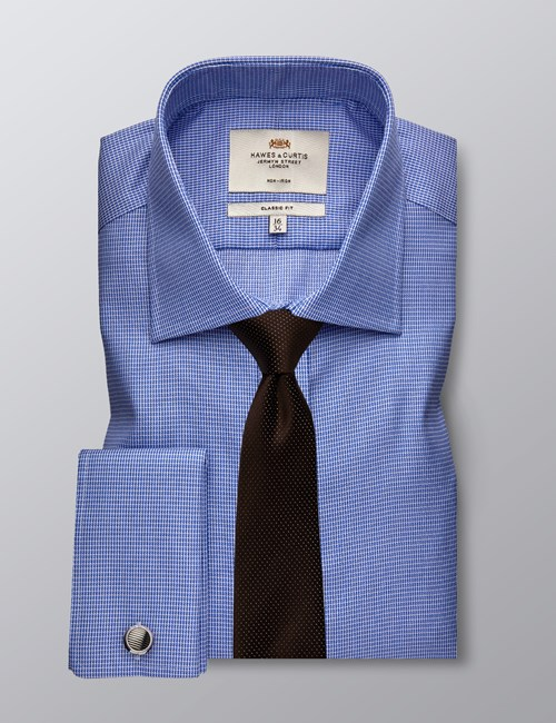 Men's Business Blue & White Dobby Classic Fit Shirt - Double Cuff - Non Iron