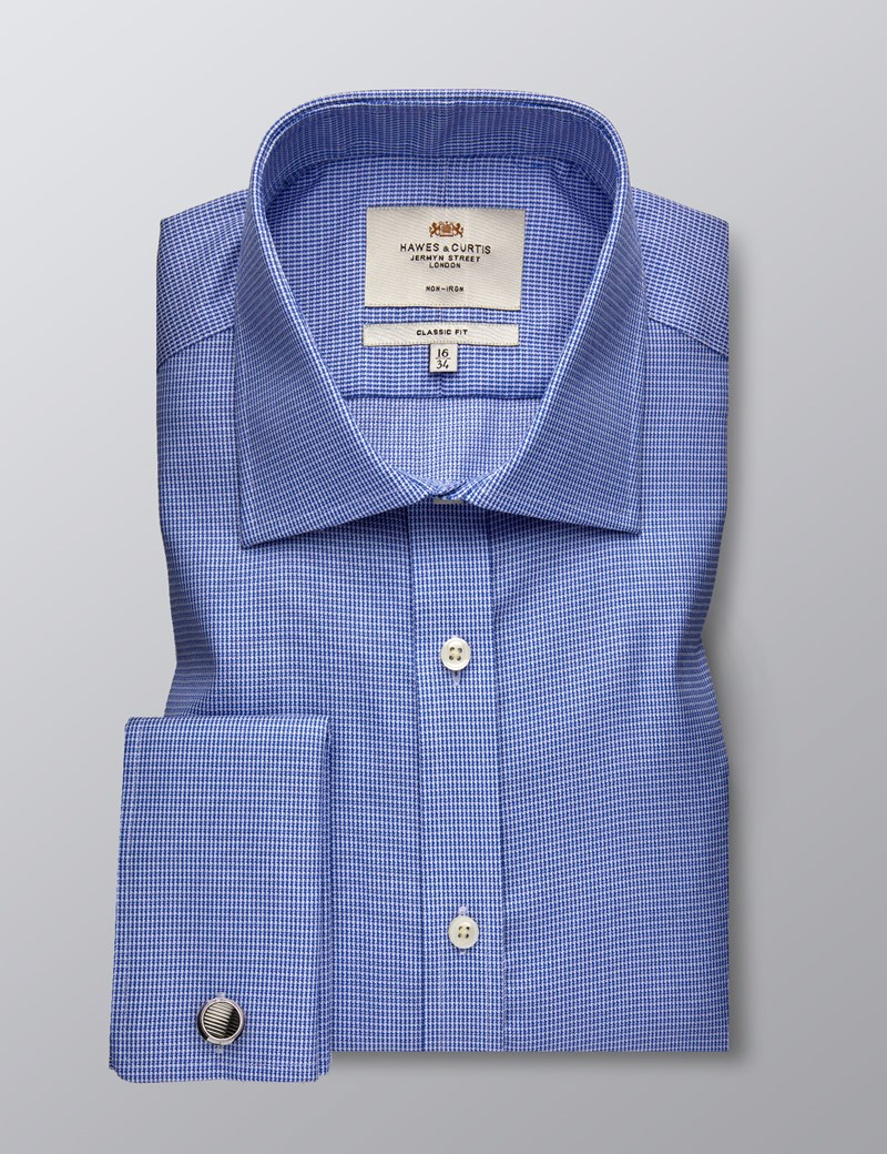 Men's Formal Blue & White Dobby Classic Fit Shirt - Double Cuff - Non Iron