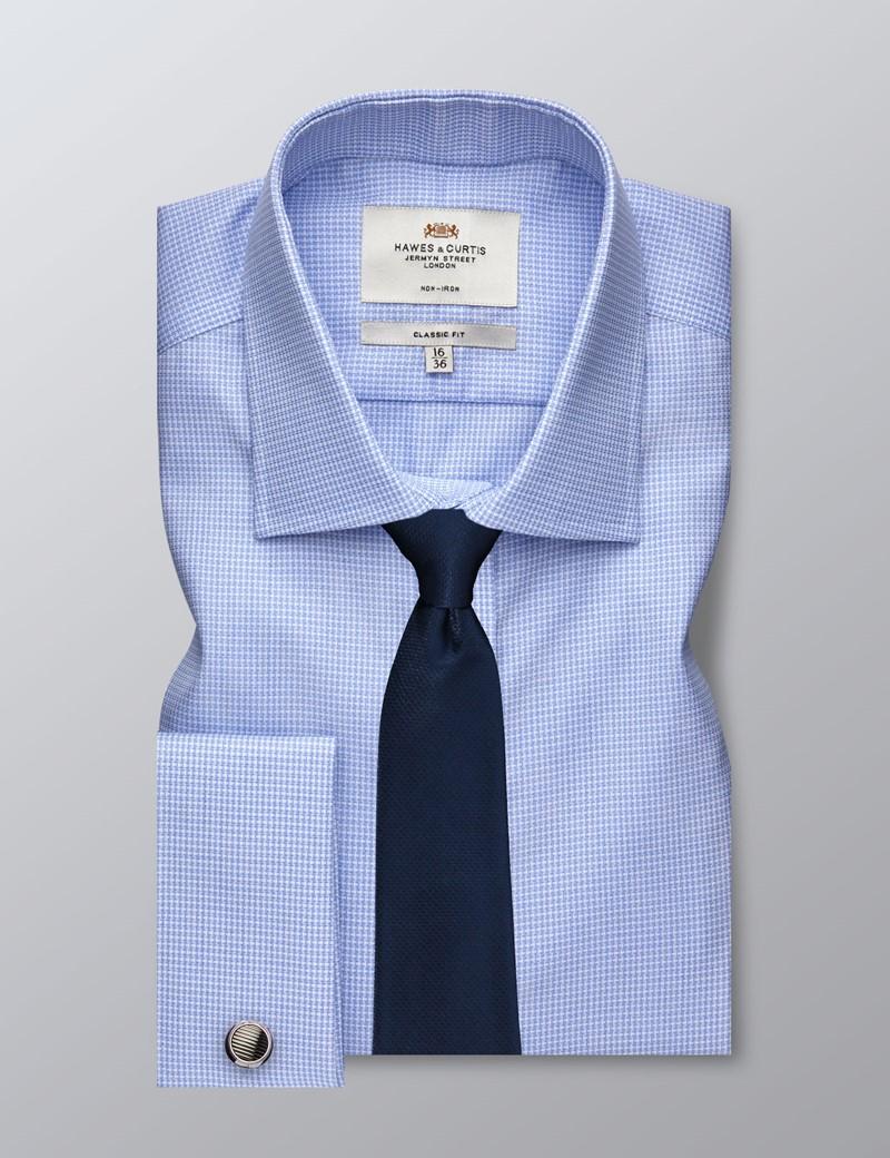 Men's Business Blue & White Classic Fit Shirt - Double Cuff - Non Iron
