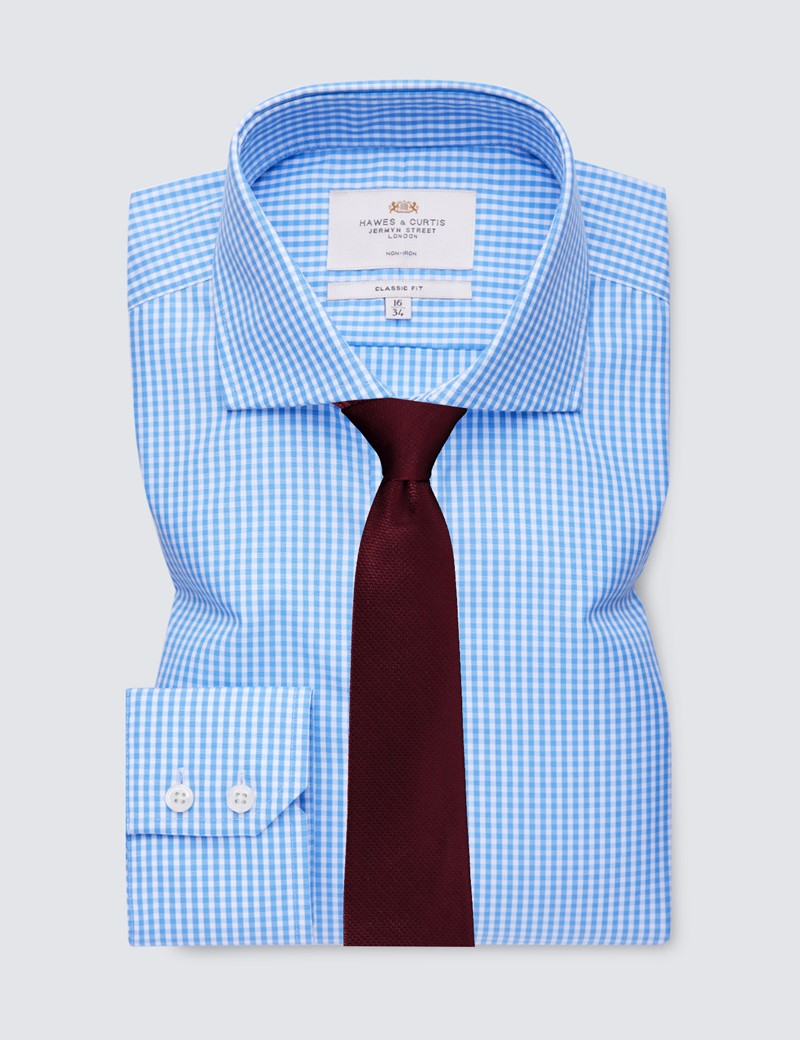 Non Iron Men's Formal Blue & White Gingham Check Classic Fit Shirt - Windsor Collar