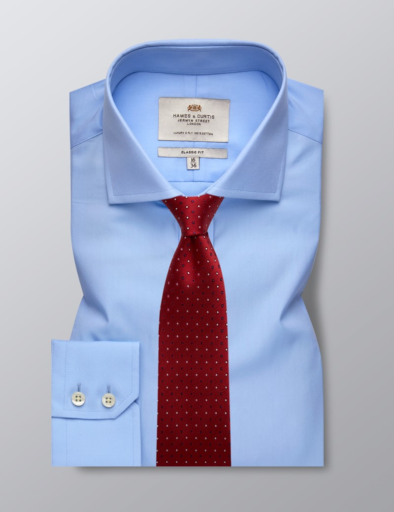 Men's Business Blue Poplin Classic Fit Shirt - Windsor Collar - Single Cuff - Easy Iron