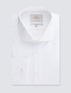 Men's Business White Poplin Classic Fit Shirt - Windsor Collar - Single Cuff - Easy Iron