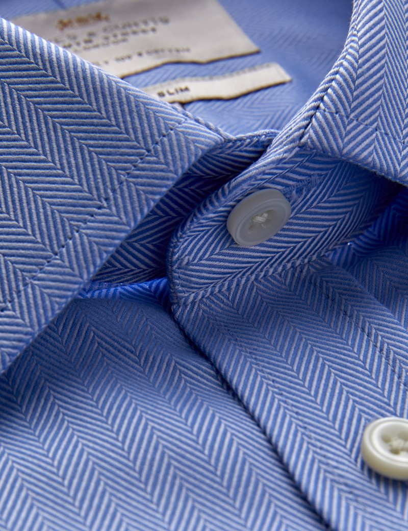 Men's Business Blue Herringbone Classic Fit Shirt with Windsor Collar and Single Cuffs - Easy Iron