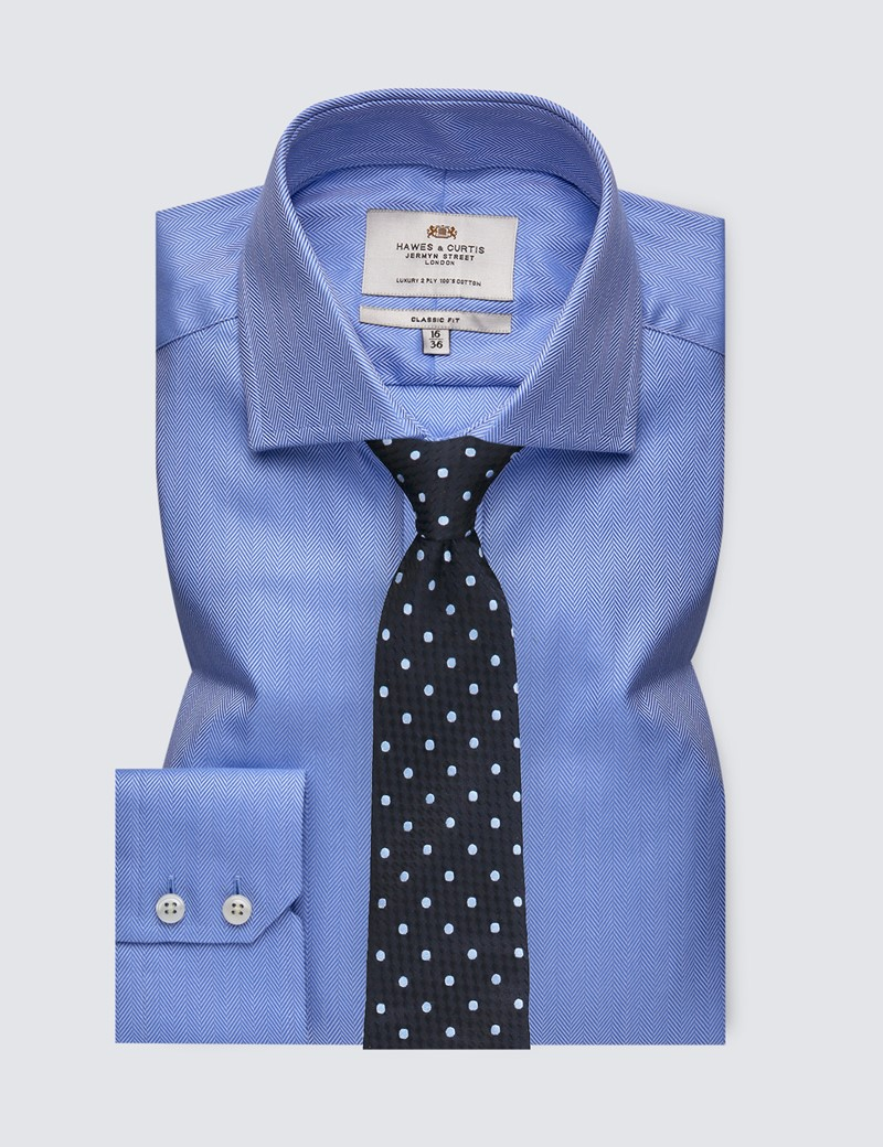 Men's Dress Blue Herringbone Classic Fit Shirt with Windsor Collar and Single Cuffs - Easy Iron