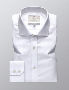 Easy Iron White Herringbone Classic Fit Shirt - Windsor Collar - Single Cuffs