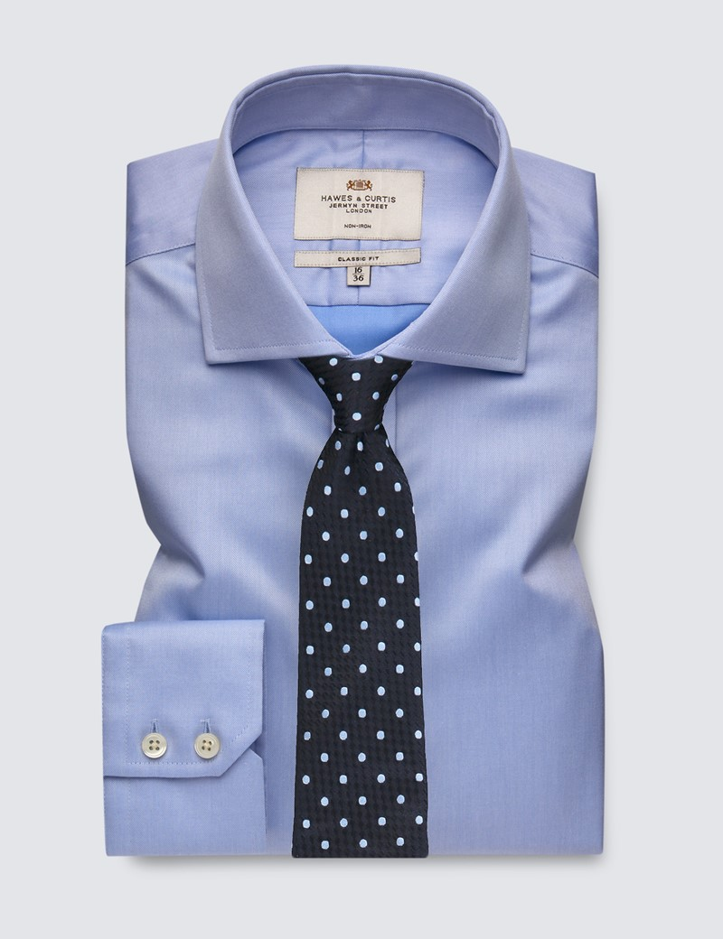 Men's Formal Blue Twill Classic Fit Shirt - Single Cuff - Windsor Collar - Non Iron