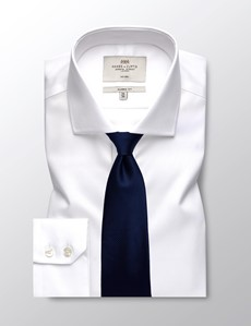 Men's Formal White Twill Classic Fit Shirt - Single Cuff - Windsor Collar - Non Iron