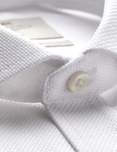 Bügelfreies Businesshemd – Classic Fit – Haifischkragen – weiß Piqué