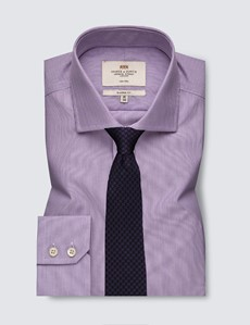 Men's Dress Lilac & White Fine Stripe Classic Fit Shirt with Windsor Collar and Single Cuffs - Non Iron