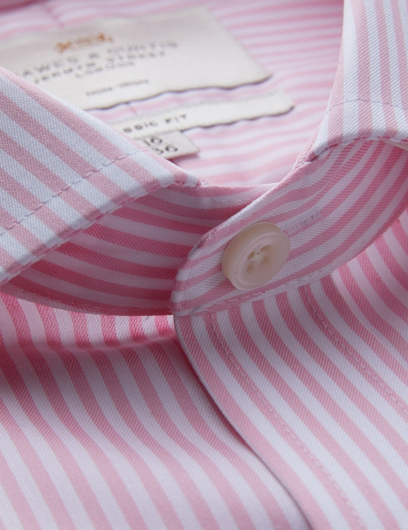 Non Iron Pink & White Bengal Stripe Classic Fit Shirt - Windsor Collar - Single Cuffs