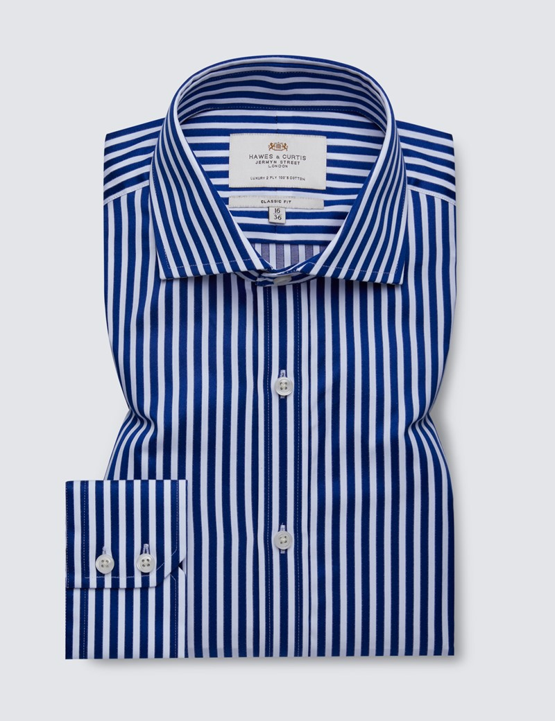 Easy Iron Royal & White Bold Stripe Classic Fit Shirt - Windsor Collar - Single Cuffs