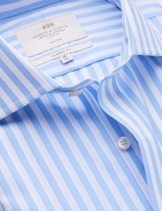 Non Iron Men's Business Blue & White Stripe Classic Fit Shirt with Windsor Collar & Single Cuffs