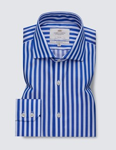 Non Iron Royal & White Bold Stripe Classic Fit Shirt - Windsor Collar - Single Cuffs