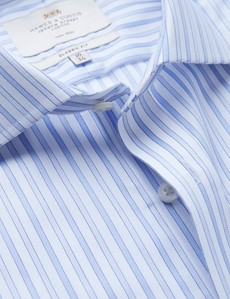 Non Iron Blue & White Multi Stripe Classic Fit Shirt