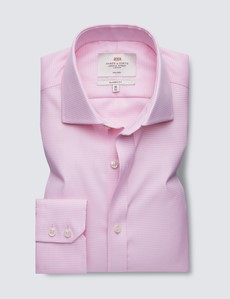 Non Iron Pink & White Dogstooth Classic Fit Shirt - Windsor Collar - Single Cuffs