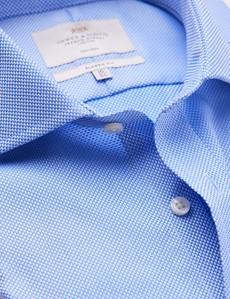 Men's Business Blue Fabric Interest Classic Fit Shirt - Windsor Collar - Single Cuff - Non Iron