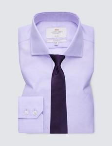 Men's Business Lilac Fabric Interest Classic Fit Shirt - Windsor Collar - Single Cuff - Non Iron
