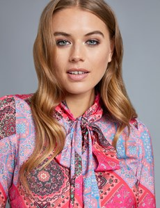 Women's Pink Paisley Fitted Shirt - Pussy Bow