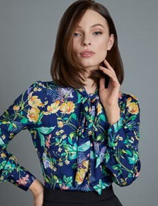 Women's Navy Floral Fitted Satin Shirt - Single Cuff - Pussy Bow