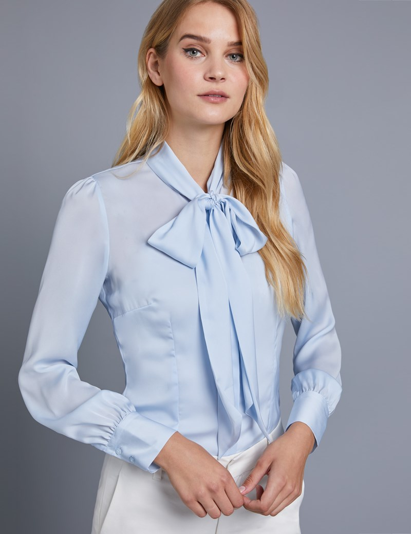 Women's Light Blue Plain Fitted Satin Blouse - Pussy Bow
