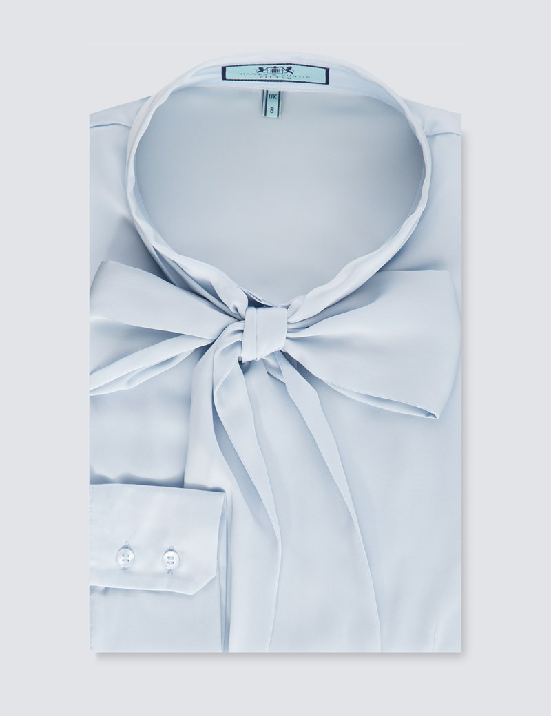 Women's Light Blue Fitted Lightweight Satin Blouse - Pussy Bow