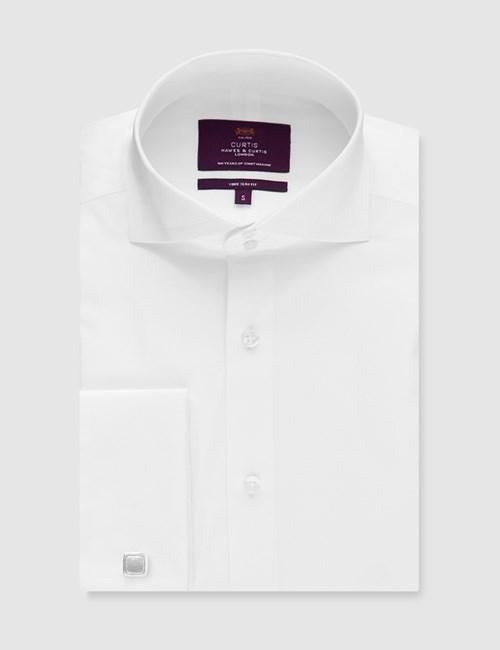 Men's Curtis White Poplin Slim Fit Shirt - High Collar - Double Cuff