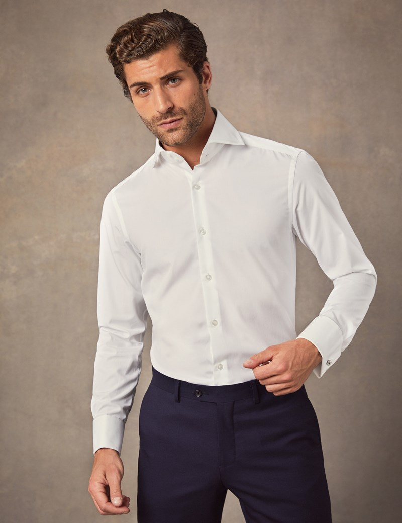 5562309d Men's Curtis White Poplin Slim Fit Shirt - High Collar - Double Cuff