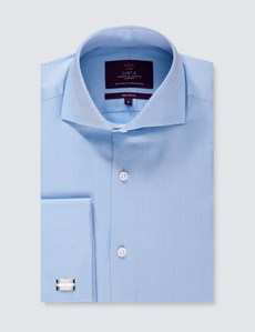 Men's Curtis Blue Twill Slim Fit Shirt - High Collar - Double Cuff