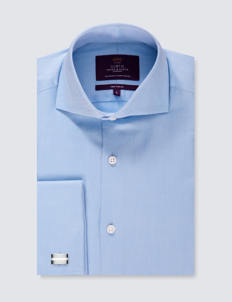 Men's Curtis Blue Twill Slim Fit Smart Casual Shirt - High Collar - Double Cuff