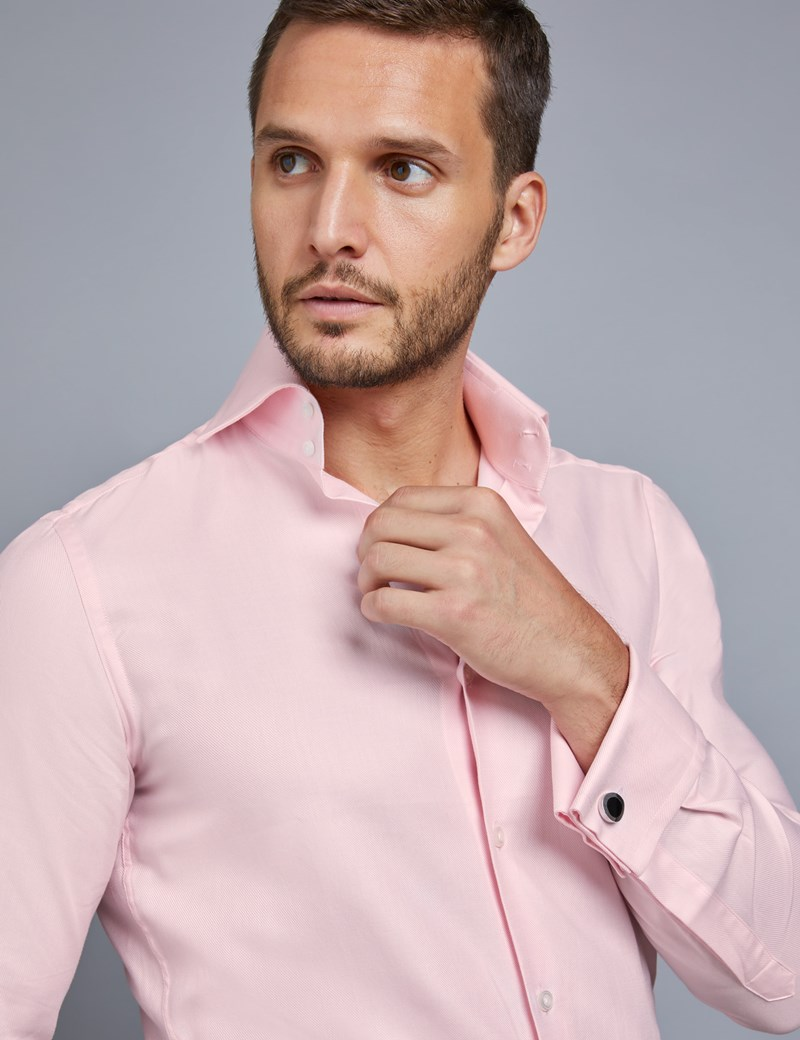 Men's Curtis Pink Twill Slim Fit Shirt - High Collar - Double Cuff
